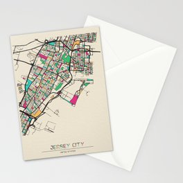 Colorful City Maps: Jersey City, New Jersey Stationery Cards