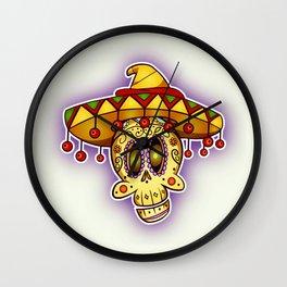 Day of the Dead Happy Skull In Sombrero Wall Clock