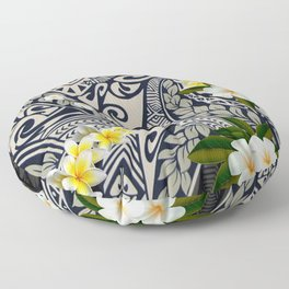 Traditional Hawaiian Tapa and Plumeria Floor Pillow