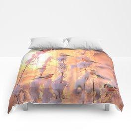 Bullfinch Birds In Sunny Winter Morning #decor #society6 Comforters
