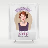 downton abbey Shower Curtains featuring Lady Mary Crawley Downton Abbey by chiclemonade