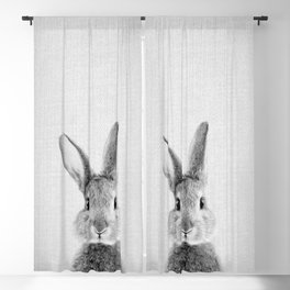 Rabbit - Black & White Blackout Curtain