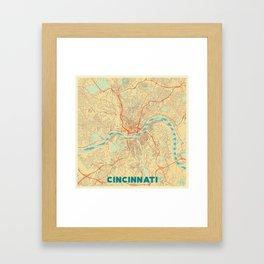 Cincinnati Map Retro Framed Art Print