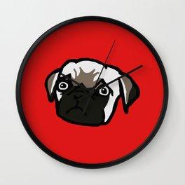 Sad pug is sad Wall Clock