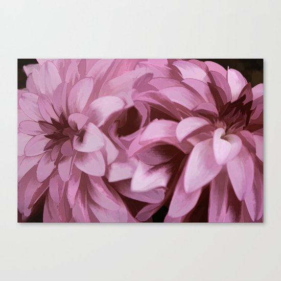 Just The Two Of Us - Painterly Dahlias Canvas Print
