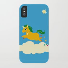 The golden unicorn of glitter poo iPhone Case