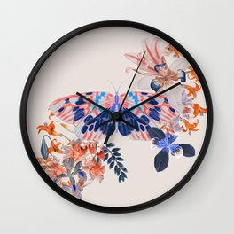 Exotic Butterfly Collage By Black Jungle Wall Clock