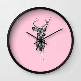Deer Head III (pastel pink) Wall Clock
