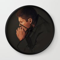 dean winchester Wall Clocks featuring Dean Winchester #3 by charlotvanh