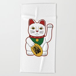 Maneki Neko - lucky cat Beach Towel