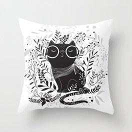 Black cat Floral illustration design Throw Pillow