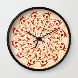 Watercolor music mandala Wall Clock
