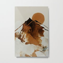 abstract mountains, rustic orange sunrise Metal Print
