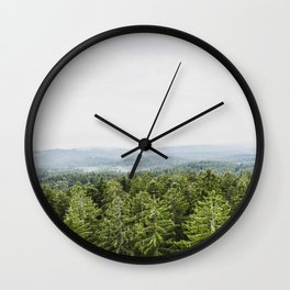Layers Of Green Pine Trees Rolling Hills Wall Clock