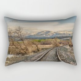 Railroad Tracks Curving Toward the Mountains and Disappearing Rectangular Pillow