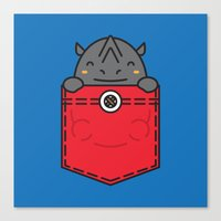 pocket Canvas Prints featuring Pocket Rhino by Steven Toang