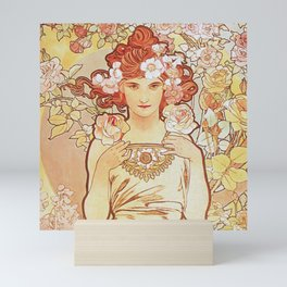 Rose by Alphonse Mucha 1897 // Vintage Girl with Red Hair Floral Love Design Mini Art Print