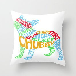 Frenchie Word Cloud Throw Pillow