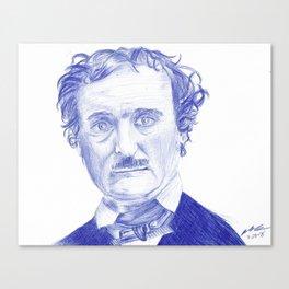 Edgar Allan Poe Portrait in Blue Bic Ink Canvas Print