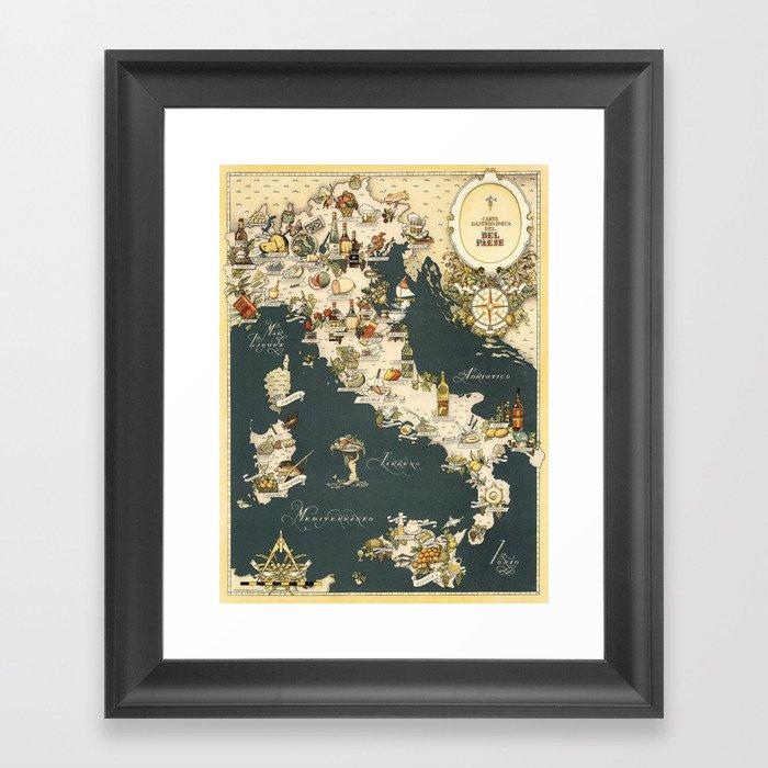 Gastronomic Map of Italy 1949 Gerahmter Kunstdruck