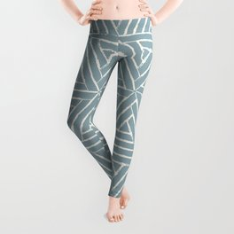 Cream & Pale Denim Blue Aztec Tribal Triangle Pattern Pairs To 2020 Color of the Year Good Jeans Leggings
