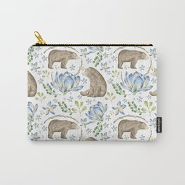 Bears in Blue Flowers Carry-All Pouch