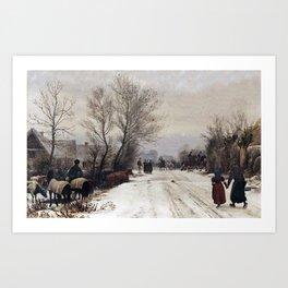 Peter Christian Skovgaard 1817-1875 Copenhague Winter landscape. A country wedding. Art Print
