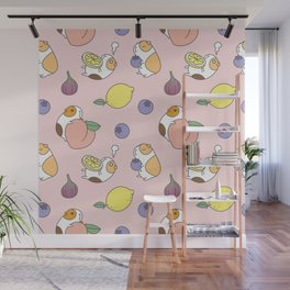 Guinea pig and fruits pattern Wall Mural