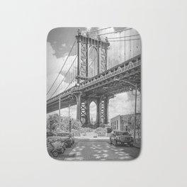 NEW YORK CITY Manhattan Bridge   upright slim panorama Bath Mat