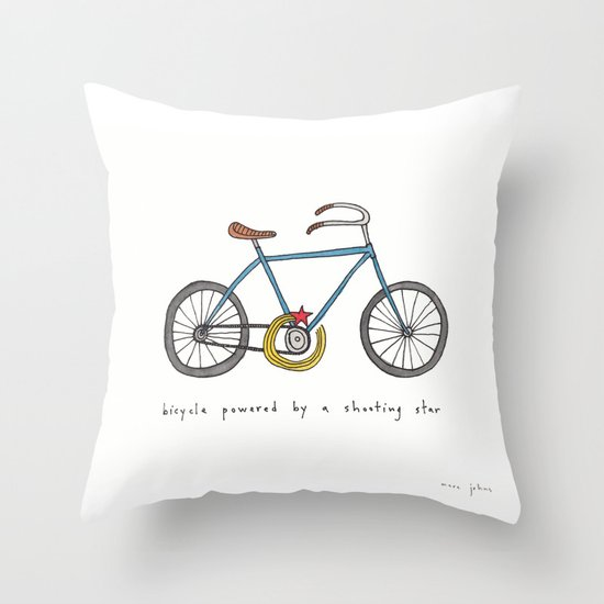 Bicycle Print Throw Pillow : bicycle powered by a shooting star Throw Pillow by Marc Johns Society6
