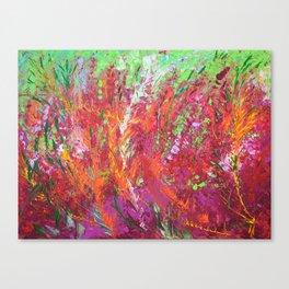 Fiery Meadow - modern palette knife abstract landscape by Adriana Dziuba Canvas Print