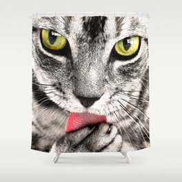 Cute Cat Cleaning Shower Curtain