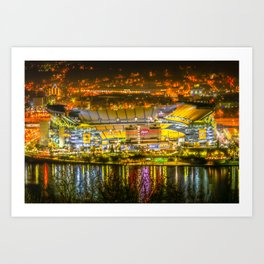 Pittsburgh Football Stadium Night View Steel City Art Print