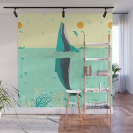 VINTAGE WHALE Wall Mural