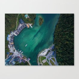 königssee waterfall alps bayern forrest drone aerial shot nature boat mountains panorama vertical Canvas Print
