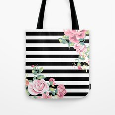 Floral Stripes Tote Bag