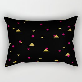 Triangle Explosion - Pink and Gold on Black Rectangular Pillow