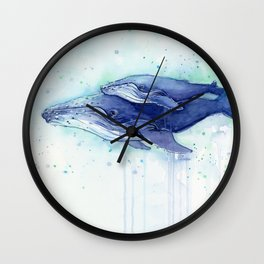 Humpback Whale Watercolor Mom and Baby Painting Whales Sea Creatures Wall Clock