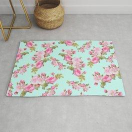 Pink & Mint Green Floral Rug