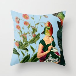 fish soul mate Blue #collage Throw Pillow