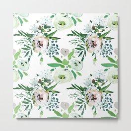Modern pink teal green watercolor floral Metal Print