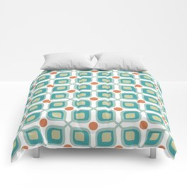 Abstract Flower Pattern Mid Century Modern Retro Turquoise Orange Comforters