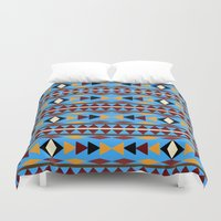 navajo Duvet Covers featuring Navajo Blue Pattern Art by Christina Rollo