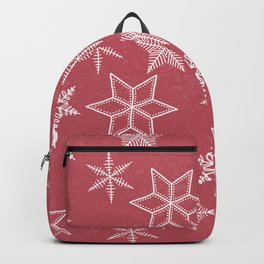 Snowflakes On Pastel Red Background Backpack