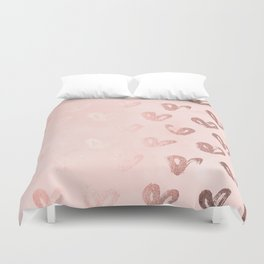 Rosegold Hearts on Pink Duvet Cover