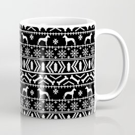 Great Dane fair isle christmas holiday black and white minimal pattern gifts for dog lover Coffee Mug