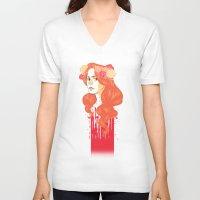 black widow V-neck T-shirts featuring Widow by barbitone