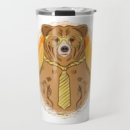 Business Bear in Glasses and Tie graphic for Bear Lover Travel Mug