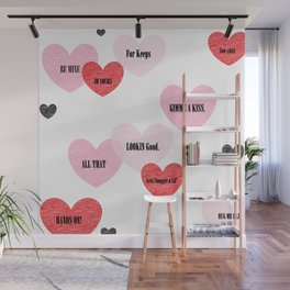 Candy Hearts Wall Mural