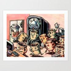 Coffee Mug People in Office Art Print